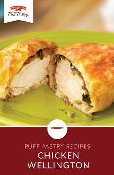 A variation of the classic beef Wellington, this stunning entrée stars boneless chicken breasts topped with a mushroom-onion mix and wrapped in tender puff pastry. Chicken Wellington, Beef Wellington Recipe, Puff Pastry Chicken, Cream Cheese Chicken, Beef Recipes, Chicken Recipes, Cooking Recipes, Recipe Chicken, Diet