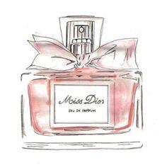 rosa Miss Dior Parfümflasche drucken wallart - Perfume bottles - Parfum Dior, Parfum Chloe, Dior Fragrance, Fragrances, Perfume Chanel, Pink Perfume, Perfume Bottles, Bottle Drawing, Modern Art Styles