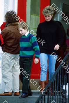 January 9, 1992: Princess Diana with Prince William after leaving Prince Harry at Wetherby School in London.