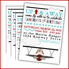 Airplane Pilot Invitations for Airline Birthday by LullabyLoo, $18.00
