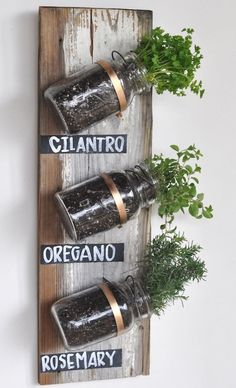 pipe clamps + chalkboard paint + jars + old pallet wood