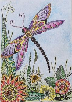 Ideas Tattoo Mandala Butterfly Dragon Flies You are in the right place about Insects food Here we offer you Dragonfly Painting, Dragonfly Wall Art, Dragonfly Tattoo Design, Dragonfly Images, Tattoo Designs, Zentangle Drawings, Mandala Drawing, Zentangle Patterns, Mandala Tattoo