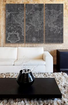 Oliver Gal 'World Map 1778' Canvas Print Triptych | Nordstrom