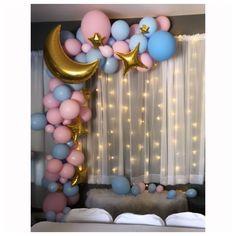 Gender Reveal Balloons, Gender Reveal Party Decorations, Baby Shower Decorations, Simple Gender Reveal, Pregnancy Gender Reveal, Gender Party, Baby Gender Reveal Party, Baby Shower Themes Neutral, Ideias Diy