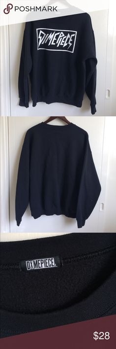 Dimepiece Crew Neck Black crew neck sweatshirt with white graphic on the front. NOT UNIF. Size L but size tag has been taken out. Only worn a couple times washed once. The inside lining is still really fuzzy and warm :) UNIF Sweaters Crew & Scoop Necks