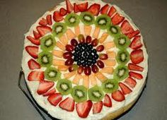 Easy Fruit Pizza:  1 roll sugar cookie dough  8oz fruit flavored cream cheese  8oz of jet puff  Assorted cut up fruit  1. Spread dough on sprayed pan and cook for 20 minutes at 375  2. Mix cream cheese and jet puff   3. When dough is cool, spread cream cheese mix over and cover with fruit