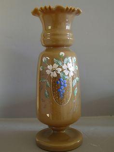 Antique Bristol Glass   Antique Victorian Bristol Art Glass Vase w. Grapes from ...