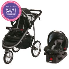 Moms praise the impressive safety features and the maneuverability of the Graco FastAction Fold Click Connect Jogger Travel System Stroller, winner in the Travel System category.