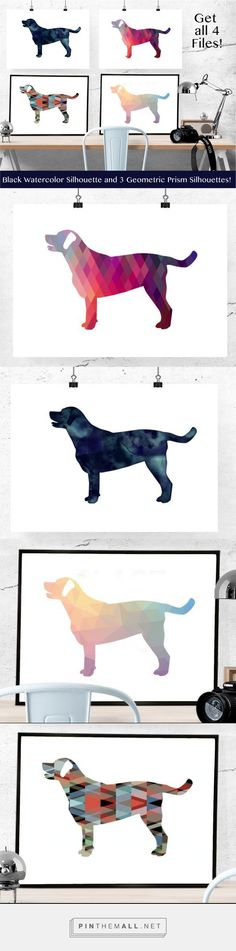 ❤ Labrador Retriever silhouettes in black watercolor and colorful geometric patterns on Etsy