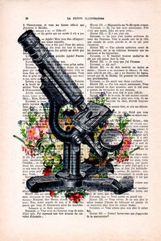 Antique Microscope Print Cimestry Laboratory Vintage Science Flower Print Wall Art Vintage Print On Recycled Paper Retro Art - Wallpaper Quotes Art Vintage, Vintage Art Prints, Retro Art, Antique Art, Arte Com Grey's Anatomy, Anatomy Art, Flower Prints, Flower Art, Art Flowers