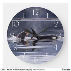 Orca   Killer Whales Breaching Large Clock Large Clock, Killer Whales, Wall Clocks, Hand Coloring, Display, Artwork, Prints, Floor Space, Work Of Art