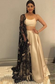 Youdesign Satin Lehenga Choli In Cream Colour Size Upto 66 Indian Gowns Dresses, Indian Fashion Dresses, Indian Designer Outfits, Lehenga Modern, Simple Lehenga Choli, Indian Attire, Indian Wear, Lehnga Dress, Party Wear Lehenga