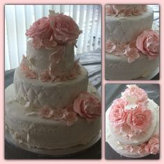 Weddingcake with sugarveil /lace and handmade roses.