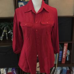 Red Button Down Professional nice button down collared red shirt Dress Barn Tops Button Down Shirts