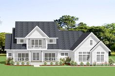 This delightful 4-bedroom farmhouse plan has an appealing shake exterior, covered upper and lower front porches, and a 3-car garage.Inside, an open-concept family room forms the heart of the home, featuring a fireplace and French-door access to the covered back porch.In the spacious kitchen, meals and entertaining are a breeze thanks to an oversized island with seating for four and large walk-in pantry.The owner