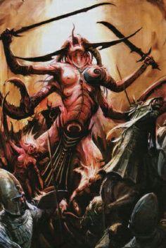 File:Daemonette Keeper of Secrets. Fantasy Battle, Fantasy Rpg, Dark Fantasy, Fantasy Artwork, Warhammer 40k Art, Warhammer Fantasy, Chaos Daemons, Dark Gothic, Creature Concept
