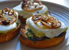 Fresh Mozzarella and Roasted Kohlrabi Crostini with Crispy Lemons and Shallots