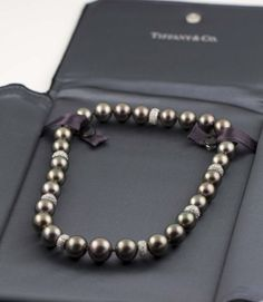 tiffany black pearls | TIFFANY Tahitian Peacock Black Pearl Platinum Diamond Necklace image 7