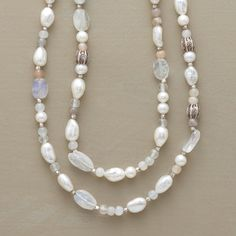 MOONPATH NECKLACE--One long strand aglow with all manner of moonstones and cultured pearls. Stamped Thai silver beads interspersed throughout