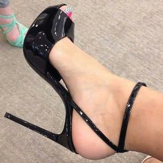 Patent ankle strap shoes