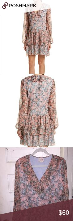 Floral shift dress Marches rose shift ruffle dress Marchesa Dresses Long Sleeve