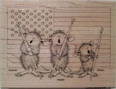 """NEW! HOUSE MOUSE by STAMPENDOUS """"Patriotic Painter"""" Wood Mounted Rubber Stamp #Stampendous"""