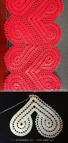 Полосы из сердечек   вязание крючком   Постила