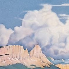 Reproduced from an acrylic painting, this landscape portrays the prairies and buttes near Great Falls, Montana, also titled Ghost Riders, this image hides a group of cowboys riding in the clouds.This