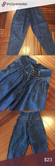 Totally RAD vintage 80s/90s high waisted jeans! These are a really cool find! Vintage size 7/8, which is roughly a modern small. I am a size 2/4, and these are a little loose on me, just to give you an idea of fit. So probably a modern 4/5. Waist is 26 inches, hips up to 40 inches. By Jordache Vintage Jeans