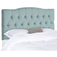 Dress up a guest room or master suite with the deeply tufted Axel sky blue king headboard.