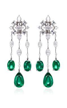Platinum Diamond And Emerald Earrings by Kwiat Now Available on Moda Operandi