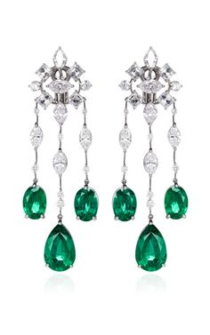 http://rubies.work/0839-ruby-pendant/ Platinum Diamond And Emerald Earrings by Kwiat Now Available on Moda Operandi