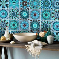 Wall Tile Vinyl Decals for Kitchen and Bath by Snazzy Decal Etsy: http://bit.do/Snazzy-Decal