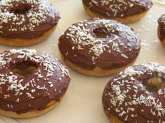 Chocolate Iced Coconut Donuts – Gluten Free - Low carb recipes suitable for all low carb diets - Sugar-Free Low Carb Recipes
