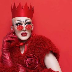Sasha Velour / all red / lady in red / crown / drag queen / queer fashion / yes queen / DEM EYEBROWS DOE
