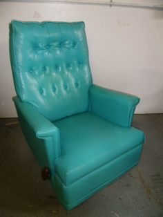 Mid Century Modern Rocking Reclining Lounge Chair in Brilliant Turquoise | eBay