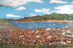 'Landscape of Nagasaki' lithograph by Kiyoshi YAMASHITA Japanese Mountains, Tissue Paper Art, Nagasaki, Mountain Paintings, Sewing Art, Japanese Painting, 2d Art, Art Museum, City Photo