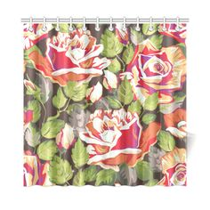 Red Roses Beautiful Floral Pattern Shower Curtain 72
