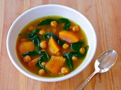 Low fat, low calorie vegan soup with butternut squash, chickpeas, spinach, turmeric, cumin, cinnamon and cayenne. Kosher, Middle Eastern, Pareve