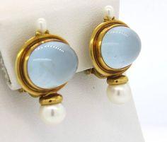 Elizabeth Gage Milky Aquamarine Pearl Gold Earrings image 3