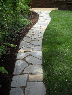 Backyard With Flagstone Walkway And Grasses Flagstone Pathway, Stepping Stone Walkways, Paver Walkway, Walkway Ideas, Stone Pathways, Slate Walkway, Walkway Designs, Brick Pathway, Concrete Walkway