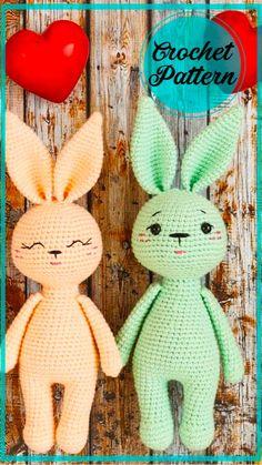 Crochet Bunny Pattern, Crochet Dolls Free Patterns, Crochet Rabbit, Crochet Motifs, Amigurumi Patterns, Crochet Toys, Knitting Patterns, Crochet Doll Tutorial, Crochet Projects