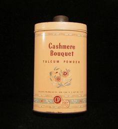 Vintage Powder Tin, Cashmere Bouquet Talcum Powder Tin, 1940s, Fair to Good Condition. $15.00, via Etsy.