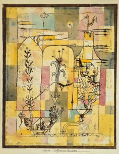 Tale à la Hoffmann, 1921 Paul Klee (German, 1879–1940) Watercolor, pencil, and transferred printing ink on paper, bordered with metallic foil; 12 1/4 x 9 1/2 in. (31.1 x 24.1 cm) The Berggruen Klee Collection, 1984