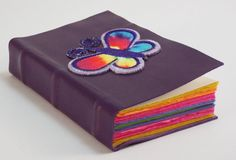 Purple leather bound Pocket journal with by SolitaireDesigns
