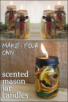 Learn how to make this mason jar oil candle lamp with olive oil, essential oils and other natural materials for a fragrant, pretty display. #masonjarcrafts #craft #homedecor