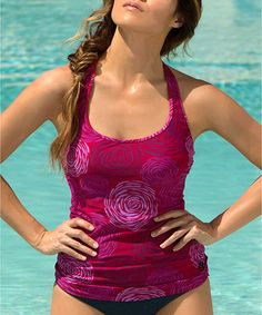 Loving this Pink Sangria Sport Tankini Top on #zulily! #zulilyfinds