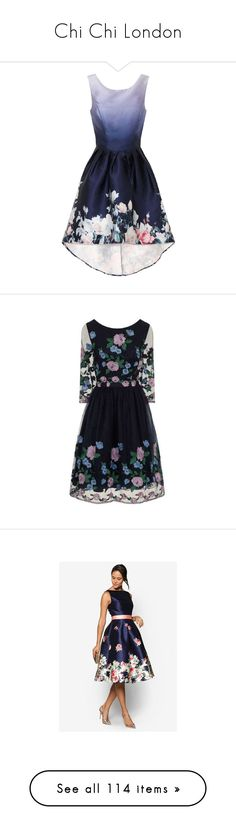 """""""Chi Chi London"""" by tatyanareva ❤ liked on Polyvore featuring dresses, blue, chi chi dresses, blue floral dress, floral hi-low dresses, floral dresses, blue floral print dress, flower embroidered dress, navy dress and floral embroidered dress"""