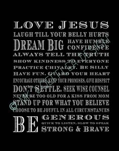 Boys Subway art print, Love Jesus, Laugh till your belly hurts on Etsy, $12.00