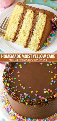 This Moist Yellow Cake with Chocolate Frosting is an irresistible combo! It's made completely from-scratch and is way better than any box cake mix. #yellowcake #chocolatefrosting #frosting #cake Yellow Cake With Chocolate Frosting Recipe, Chocolate Frosting Recipes, Chocolate Icing, Chocolate Buttercream Cake, Chocolate Bourbon, Strawberry Frosting, Strawberry Desserts, Moist Yellow Cakes, Yellow Cake Mixes